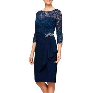 🎉HP🌟Alex Evenings Formal Navy Lace Dress Sz: 18W